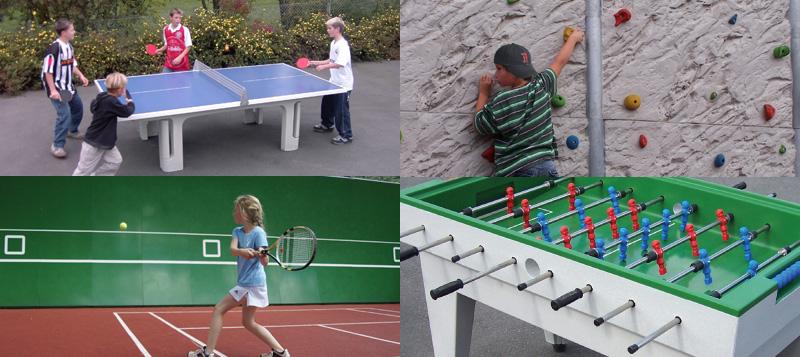 (Tafel)voetbal, (tafel)tennis en boulderwanden