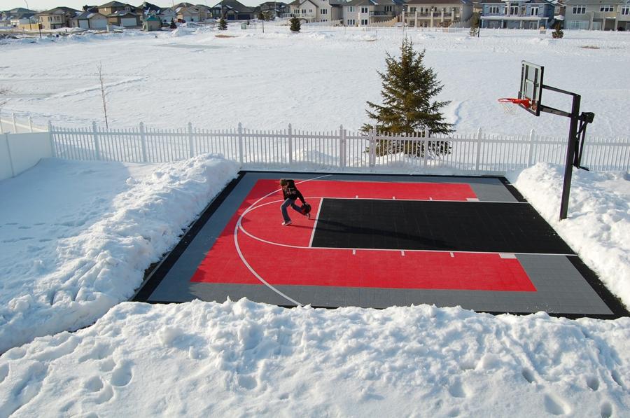 Modulaire sportvloer voor basketbal