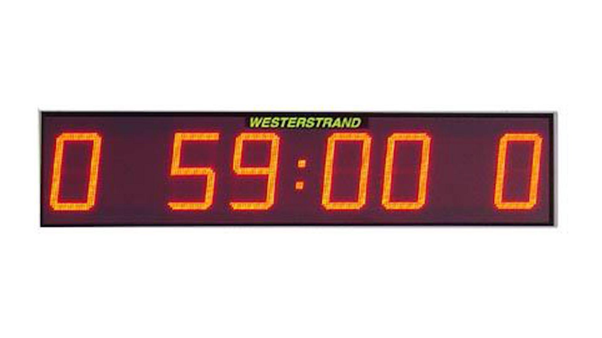 Digitaal scorebord met minuut-aanduiding