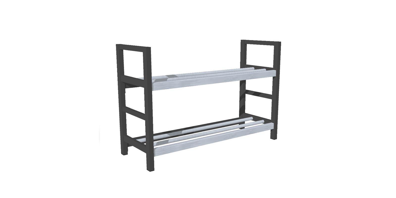 Tassenrek met twee planken - WHTR02 (1)
